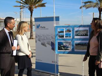 El gerent de Ports de la Generalitat i l'alcaldessa de VNG, a la presentació de la urbanització de la plaça del Por