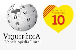 Logotip dels 10 anys de Viquipèdia