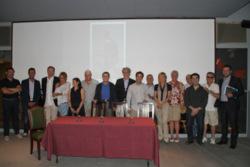 Els representants de RENFE, Museu del Ferrocarril, Menja't Vilanova i Ajuntament de VNG