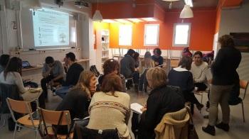 La trobada, a l'institut Montgròs, de Sant Pere de Ribes