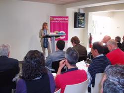 L'alcaldessa i vicepresidenta de Node, Neus Lloveras, a la presentació de Reempresa
