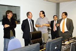 Imatge de la visita del rector de la UPC a Neàpolis