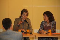 Les regidores Encarna Grifell i Iolanda Sánchez en un moment de l'acte