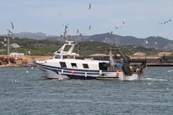 Barca de pesca, entrant al port de Vilanova