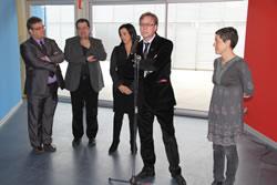 L'alcalde, la primera i el segon tinents d'alcalde de VNG, el diputat provincial Teo Romera i l'emprenedora Emiliana López