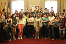 Els estudiants alemanys i vilanovins al Saló de Plens de l'Ajuntament