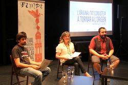 Josep Contreras, Marijó Riba i el dissenyador Joan Celorio en la presentació del FIMPT el mes de juny