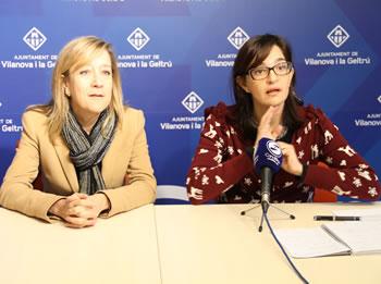 Neus Lloveras i Ariadna Llorens, a la compareixença posterior al ple ordinari de febrer