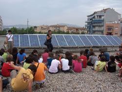 Alumnes de l'Arjau al terrat de l'Escola de Música