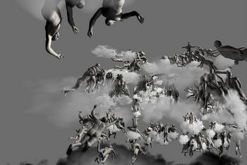 Obra 'Judgement in cyberspace' de Miao Xiaochum que es pot veure a la mostra