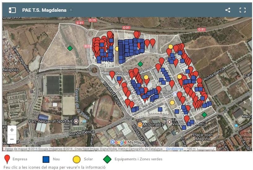 El web mostra detalls d'ubicació i serveis dels polígons