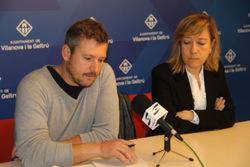 L'alcaldessa Neus Lloveras i el regidor Joan Giribet, fent valoració del Ple ordinari de març