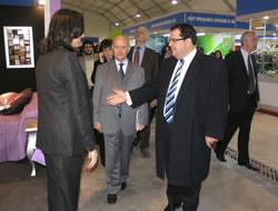 L'alcalde de Mérignac, acompanyat del de VNG, visitant els estands
