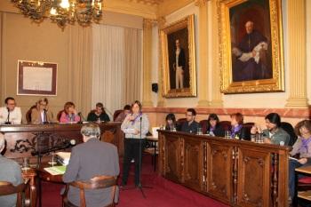 Lourdes Sindreu, de CC OO, defensant l'equiparació salarial