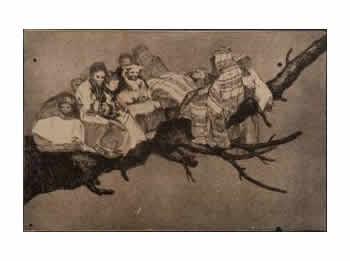 Un dels gravats de Goya que es va trobar a la Masia d'en Cabanyes