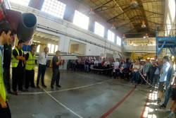 Demostració a l'hangar de l'EFAV durant la jornada de portes obertes