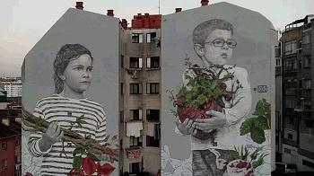 Pintura mural de Lula Goce a Vigo