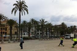 Imatge de l'inici de les obres de millora al parc de Ribes Roges