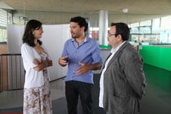 Ariadna LLorens, Albert Díez i Joan Carles Lluch durant la presentació del projecte guanyador
