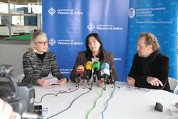D'esquerra a dreta, Elisabet Arnó, Ariadna Llorens i Michel André