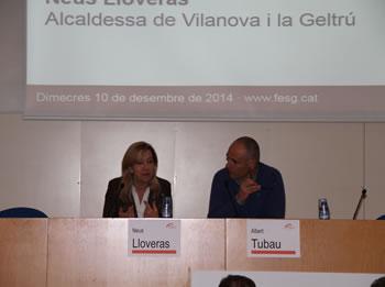 L'alcaldessa de VNG, Neus Lloveras i el vicepresident de l'IEP, Albert Tubau, a la cloenda del fòrum