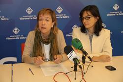 L'alcaldessa de VNG i la primera tinenta d'Alcaldia durant la compareixença per anunciar la presentació del PAM
