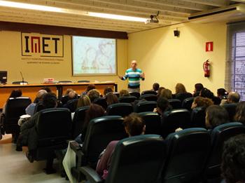 David Codina en un moment de la xerrada, ahir a l'IMET