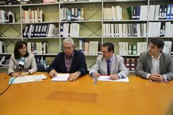 D'esquerre a dreta: Ariadna Llorens, Pere Pujol, Ferran Civil i Joan González
