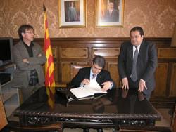 Joaquim Llena va ser rebut per Joan Ignasi Elena i Tomàs Álvaro