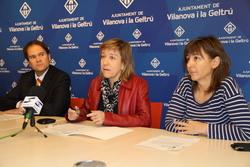 El regidor d'Hisenda, l'alcaldessa i la segona tinenta d'alcaldia presenten les accions per l'obertura de l'Eix Diagonal