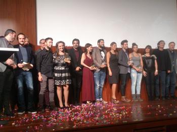 Imatge dels premiats durant la gala dels Premis Claqueta