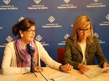 D'esquerre a dreta, la regidora d'Educació, Ariadna Llorens i l'alcaldessa de VNG, Neus Lloveras