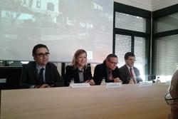 Enric Fossas, Neus Lloveras, Sebastià Olivella i Agustí Serra en l'obertura de la jornada sobre 'Costa i clima'